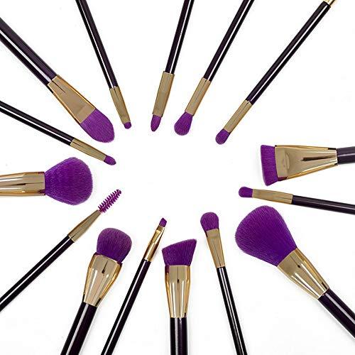 15 PCS Premium Synthétique Kabuki Pinceau De Maquillage Ensemble Cosmétiques Fondation Mélange Blush Eyeliner Visage Poudre Brosse Pinceaux à maquillage LTJHHX (Color : Violet, Size : Libre)