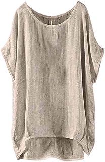 S-Fly Women's Loose Size Plus Summer Fit Short Sleeve Cotton Linen T-Shirt Blouse Top