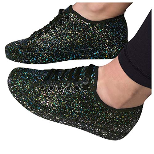 Flatform Sneaker für Damen/Dorical Frauen Damen Pailletten Glitzer Lackleder Elegant Sneakers Outdoor Schnürer Sportschuhe Laufschuhe Glänzende Schuhe Freizeitschuhe Ausverkauf (38 EU, Z1-Schwarz)