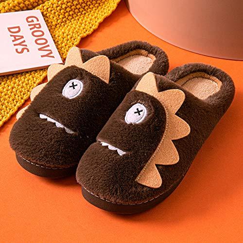 B/H Herren Damen gemütliche Memory Slipper, Indoor warme Baumwoll-Hausschuhe, Plüsch-Hausschuhe im Herbst und Winter, Braun