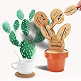 Funny Cork Coasters Cactus Coaster for Drinks 6 Pieces with Flowerpot Holder DIY Novelty Gifts for Home Decor Office Bar, Sirensky Brand