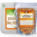 PRO QUALITY NUT MILK BAG & FRESH RAW ALMONDS - Kit includes Ellie's Best 12'X12' Reusable ALL PURPOSE Food Grade Nut Milk Bag Strainer & 1lb of Farm Fresh Wild Harvest Raw Almonds & Free Recipe Book