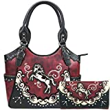 Zelris Western Mustang Horse Turquoise Conceal Carry Women Tote Purse Wallet Set (Red)