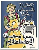 Cooking with Wine ブリキ看板 ビンテージ風 32×40cm 輸入品
