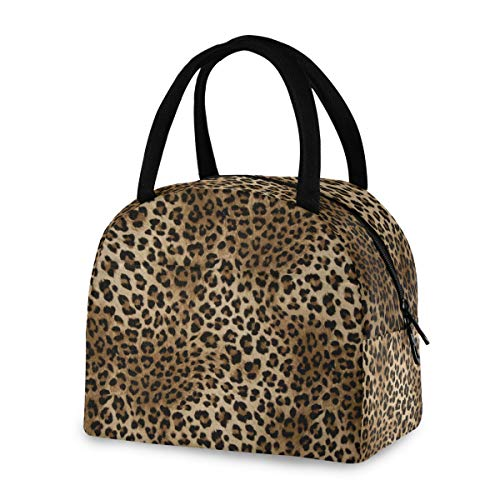 ZZKKO Leopard Animal Lunch Bag Box Tote Organizer Lunch Container Insulated Zipper Meal Prep Cooler Handbag For Women Men Home School Office Outdoor Use