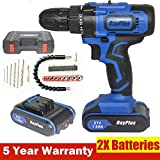 21V Cordless Drill Driver Screwdriver with Magnet, Hammer Function 3/8 Inch Chuck 2Pcs
