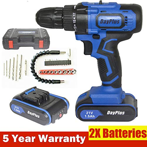 21V Cordless Drill Driver Screwdriver with Magnet, Hammer...