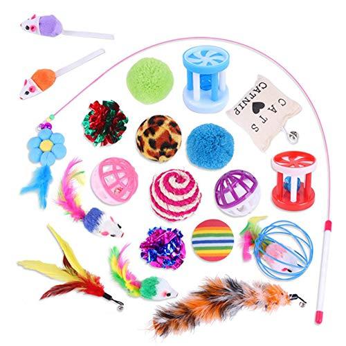 zyl Katzenspielzeug, 20 Stück Kätzchenspielzeug Interaktiver Federstab Mäuse Glocke Katzenstäbchen, Indoor Katzenspielzeug Set Geschenk