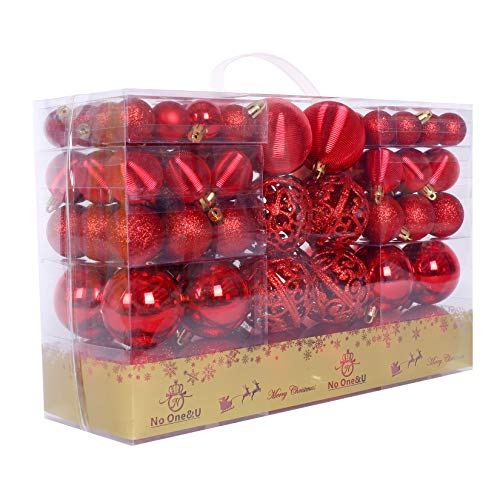 Christmas Balls Ornaments 100pcs Shatterproof for Decorating Christmas Tree,Christmas Tree Hanging Balls with Reusable Hand-held Gift Package for Holiday Xmas Tree Decorations. (Red-3, 100PC)