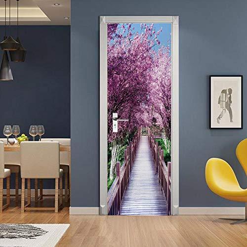 3D Mural puerta Fondo pantalla cristal poster paisaje armario Decoración Hogar Vinilo Flores de cerezo nfantiles Guardería Niños extraíble Sala Estar Espacio 77x200cm