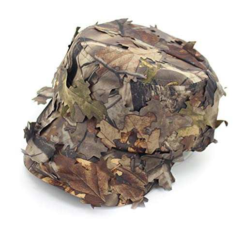 Neborn Sonnenschirm Baseball Caps,Breiter Krempe Flap Hut 3D Blätter Camouflage Ghillie Caps Sniper Hüte Camo Sonnenschutz Baseball Caps für Angeln Jagd Airsoft