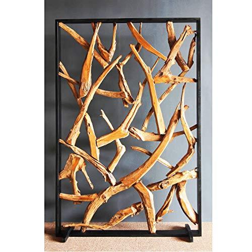 Möbel Bressmer Luxus Designer Teakholz Trennwand Maze 180x120 Raumteiler Holz Optik Sichtschutz - NEU | Die perfekte Lösung für Wohnbereich Büro Wintergarten Club