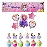 SOFIA THE FIRST Happy Birthday Banner and Balloons Cake Toppers for Kids Baby Shower Party Decorations