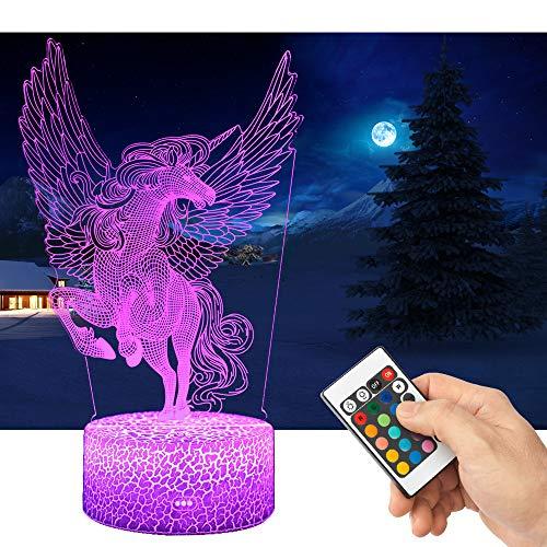 QiLiTd 3D Einhorn Lampe LED Nachtlicht mit Fernbedienung, 16 Farben Wählbar Dimmbare Touch Schalter Nachtlampe Geburtstag Geschenk, Frohe Weihnachten Geschenke Für Mädchen Männer Frauen Kinder