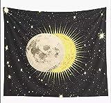 AdoDecor Eclipse Sol Luna Estrellas Espacio astronomía Tapiz Negro tapices para Colgar en la Pared Dormitorio hogar Dormitorio decoración navideña Alfombra 150x100cm