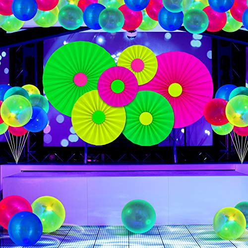31 Suministros de Fiesta de Neón Brillante Juego de Reactivo UV Abanico de Papel de Colgar Fluorescentes Globos de Luminosos Luz Negra Abanico de Papel Neón y Globos Decoración Fiesta