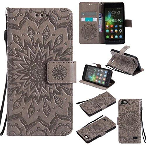 Gift_Source Honor 4C Hülle, Huawei G Play Mini Hülle, [Grau] PU Leder Brieftasche Schutzhülle Lederhülle Tasche Hülle mit Standfunktion Flip case Handyhülle für Huawei Honor 4C/Huawei G Play Mini