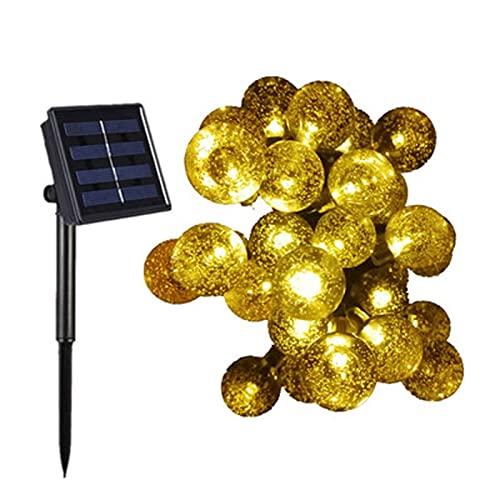 Yokbeer Cadena de Luz Solar, 8 Modos Bola de Cristal Luces de Cristal Decorativas, Cadena de Luz Solar Luces Decorativas de Globo de Cristal LED Cadena de Luz IP44 Impermeable para Navidad