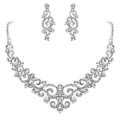 EVER FAITH Women's Crystal Gorgeous Floral Vine Bridal Necklace Earrings Set Clear Silver-Tone