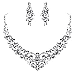 Clear Silver-Tone Crystal Gorgeous Floral Vine Necklace Earrings Set