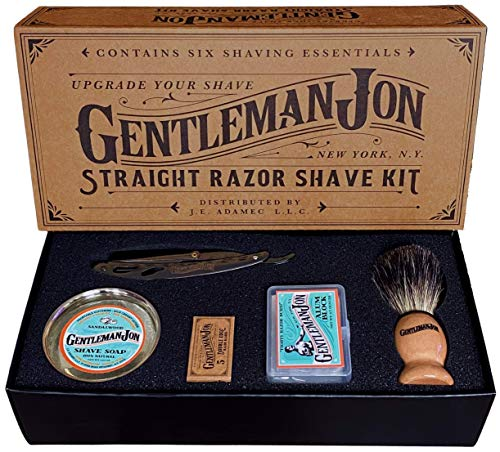 Gentleman Jon Straight Razor Shave Kit | Includes 6 Items: One Straight Razor, One Badger Hair Brush, One Alum Block, One Shave Soap, One Stainless Steel Bowl and A Pack of Razor Blades