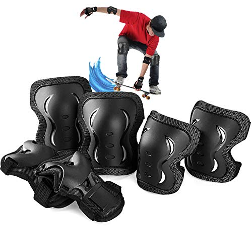 Skybulls プロテクター キッズ用 少年用 成人用 保護パッド スポーツプロテクター 安全 自転車 スケートボード ローラースケート キックバイク 手の甲/肘/膝 サポーター 6点セット収納袋付き (サイズ表に基準を選択ください)