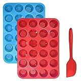 Bandeja para muffins Cupcakes de silicona Bono de molde con espátula, Sourceton Paquete de 3 moldes para muffins y espátula, molde antiadherente para hornear, horno de microondas seguro - Azul + Rojo