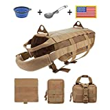 EJG Tactical Dog Harness Vest, with 3 Detachable Pouches, Molle System & Velcro Areas, for Service Medium Large Dogs, Military Training Hiking Backpack Saddlebag (Large, Brown)