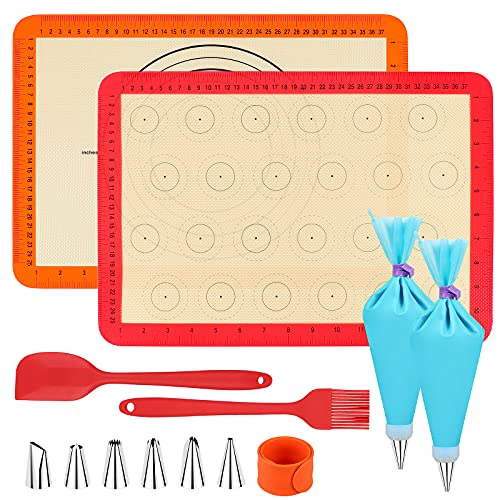 Homgaty Silicone Baking Mat Macaron Mat Kit Macaroon Baking Mat Set of 2 Half Sheet Non Stick Reusable Silicone Pastry Baking Mat Silicone Baking Mats kit(23pcs set) for Beginner and Professional