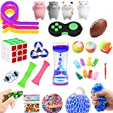 Fidget Toys Set,30 Pack.Sensory Toys Pack for Stress Relief ADHD Anxiety Autism for Kids and Adults,Liquid Motion Timer/Grape Ball/Flippy Chain/Stretchy String/Squeeze-a-Bean Soybeans/Slime & More
