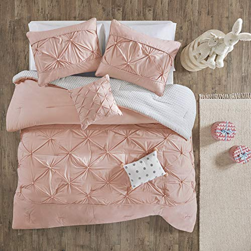 Urban Habitat Kids Aurora 5 Pieces Cotton Reversible Comforter Set Bedding, Full/Queen Size, Blush