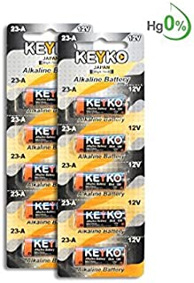 A23 Alkaline 12V Battery 23A . 10-Pcs Pack Genuine KEYKO ? JAPAN High Tech? for Remote controls , alarm , keyless entry , electronics and so more by KEYKO