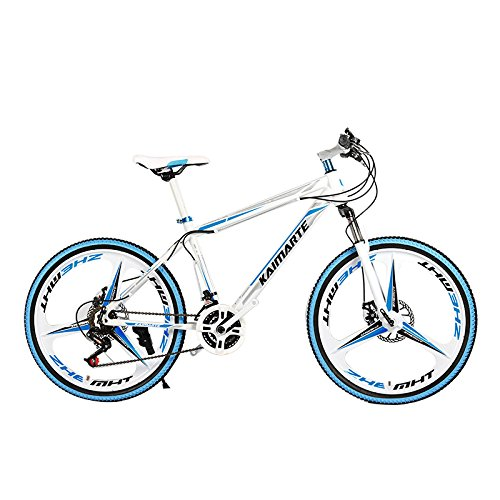Mountain Bike 21-Speed 26-inch Bicycle Fork Suspension 3-Knife Double Disc Brakes Bicycle Aluminum Racing Bicycle Outdoor Cycling Shimano Dial (Blue White, 26'')
