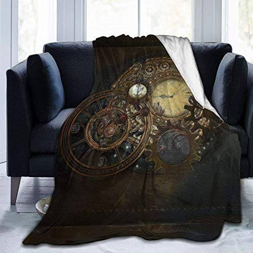 QQIAEJIA Relojes Steampunk Manta de Tiro de Microfibra súper Suave Cuerpo Completo Cálido Cómodo