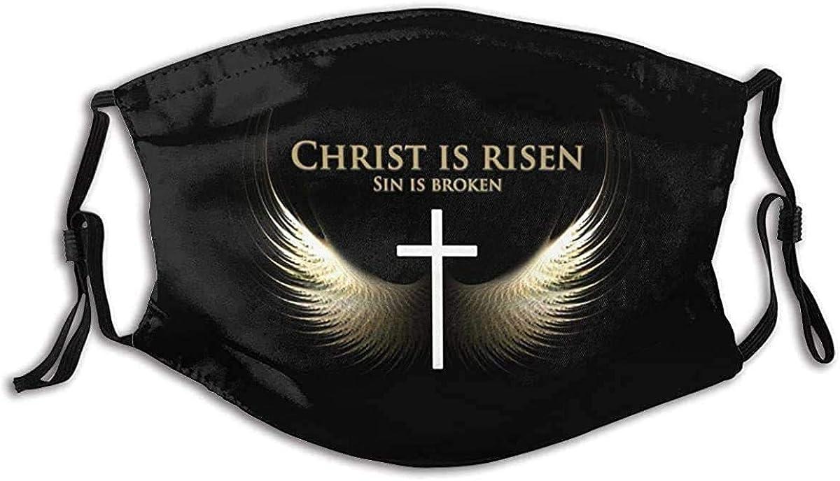 He is Risen Jesus Christ Christian Easter Face Mask Bandana Reusable Adjustable Earloop Face Protector dustproof Balaclava Black
