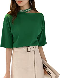 LEONMAX Tシャツ シンプル トップス シャツ 無地 肩出し ティーシャツ ファッション 大きなサイズ 半袖 個性 レディース 夏 吸汗 肩あき 肩だし ワンショルダー ゆったり 綿 カジュアル