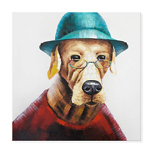 SEVEN WALL ARTS - Funny Dog Oil Paintings 100% Hand Painted Modern Cute Animal Cute Dog Wears Colorful Glasses Artworks Ready to Hang Living Room Bedroom Office Bathroom Decor 24 x 24 Inch