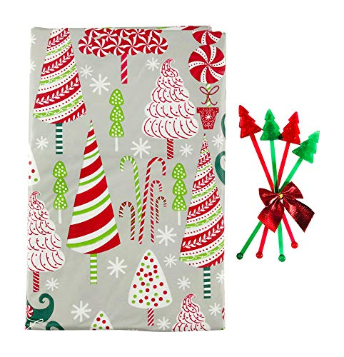 Festive Holiday Christmas Trees Flannel Back Vinyl Tablecloth: Contemporary Decorated Candy Cane Mint Whimsical Trees (52' x 70' Inch, Rectangle)