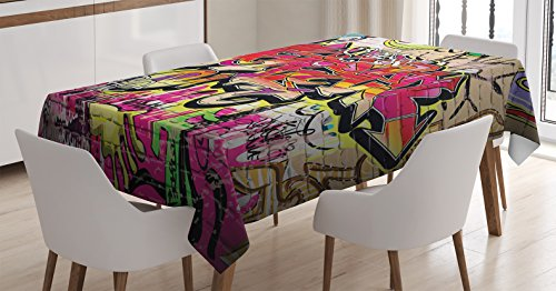 Ambesonne Brick Wall Tablecloth, Graffiti on Wall Urban Street Art with Spray Paint Tagger Underground Theme, Rectangular Table Cover for Dining Room Kitchen Decor, 60