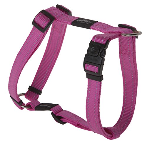 Reflective Adjustable Dog H Harness for Extra Large Dogs; Matching Collar and Leash Available, Pink