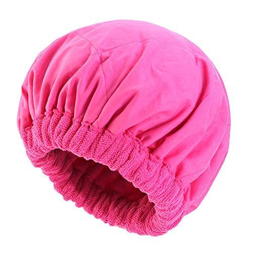 TININNA Cheveux Séchage Serviettes Serviettes pour Cheveux en Microfibre Double Couche Super Absorbant Turban Bonnet De Nuit Élastique Chapeau de Soins Capillaires,Rose Rouge