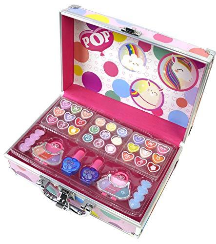 POP by Markwins 1539021E Pop Girl Köfferchen Mit Verschiedenen Makeup-Produkten: Beauty Case Mit Kinderschmuck- Und Schminksachen Für Augen, Lippen Und Haare, Mehrfarbig