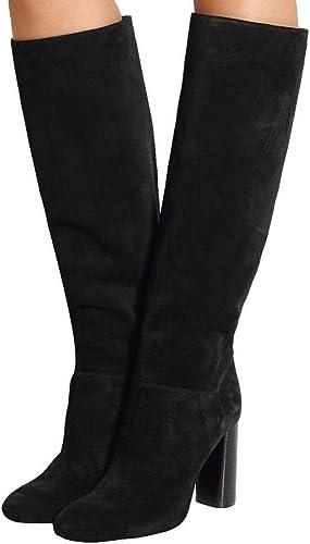 SYYAN Femmes Hiver Suède Main Pompe Le Genou Bottes Noir , noir , 45