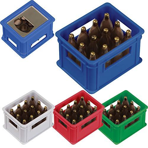 4x Flaschenöffner in der Form eines Bierkastens / Farbe: je1x rot,blau,weiß,grün