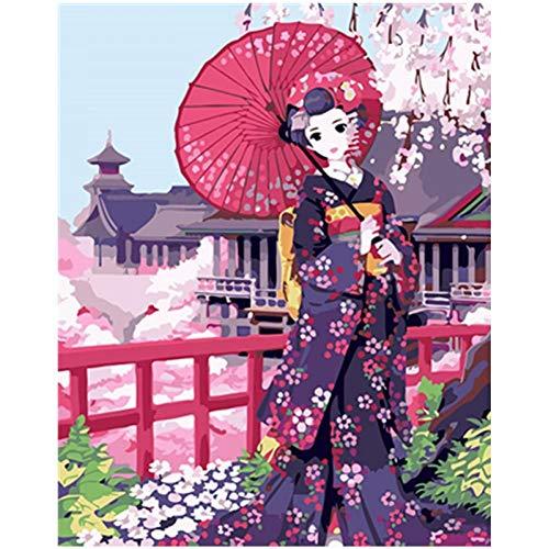 VFDGB Schilderen Op Nummer Diy Verse Kimono Verleiding Figuur Canvas Bruiloft Decoratie Kunst Foto Cadeau