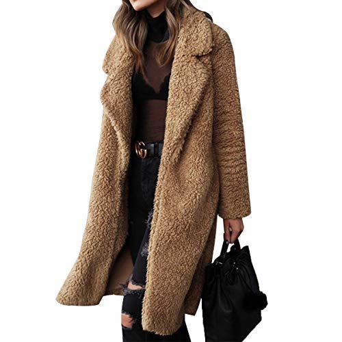Women Long Coats Fleece Jacket Winter Warm Soft Teddy Coat Cardigan Office Lady Thick Faux Fur Overcoats Outwear Vintage Jacket (Camel, S)