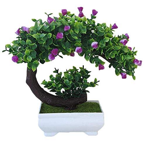 SuperglockT Kunstpflanze Rosenbaum klein Kunstbaum mit Rosenblüten im Topf Künstliche Pflanzen Kunstbonsai Kunststoff Zimmerpflanzen Hochzeit Deko 20cm Hohe (Lotus-Farbe)
