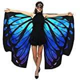 Halloween/Party Costumes,Double-Sided Printing Fabric Butterfly Wings for Women,Butterfly Shawl Fairy Ladies Nymph Pixie Costume Accessory (168 x135CM, Both Side Starry sky)