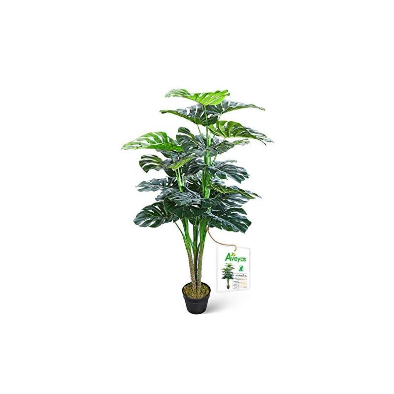 silk flower arrangements aveyas 4.5ft artificial monstera deliciosa adansonii tree in plastic nursery pot, fake tropical split leaf plant for office house living room home decor (indoor/outdoor)