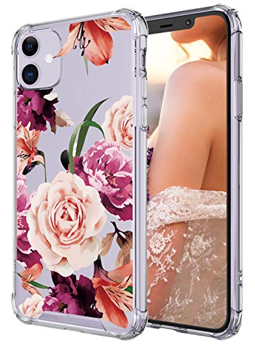 Case for iPhone 11,Cutebe Shockproof Series Hard PC+ TPU Bumper Protective Case for Apple iPhone 11 6.1 Inch Crystal (Floral)